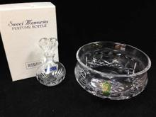 2 Pristine Waterford Pieces. Candy/Nut Dish and Perfume Bottle