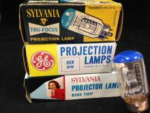 Lot of (3) Vintage Projector Lamps Sylvania and GE