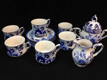 Delfts Blue #165 Set. Cups and Saucers and Sugar and Creamer. Beautiful.