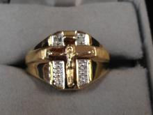 10K Yellow Gold and Diamond Accented Jesus Crucifix Ring