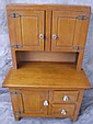 PINE CHILD'S STEPBACK CUPBOARD. With raised panel