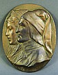 DANTE & BEATRIX OVAL BRONZE PLAQUE. 5 1/2