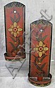 PAIR OF TOLE DECORATED CANDLE SCONCES.  Red and black ground with flowers and leaves.  12 1/2