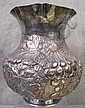 SOUTH AMERICAN REPOSSE SILVER PLATE VASE.  Hallmarked.  8 3/4