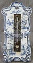 DUTCH DELFT BLUE AND WHITE CERAMIC THERMOMETER.  6 1/2