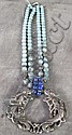 ASIAN NECKLACE.  Silvered metal reticulated dragon pendant with double, turquoise, lapis and metal color beads.  13 3/4