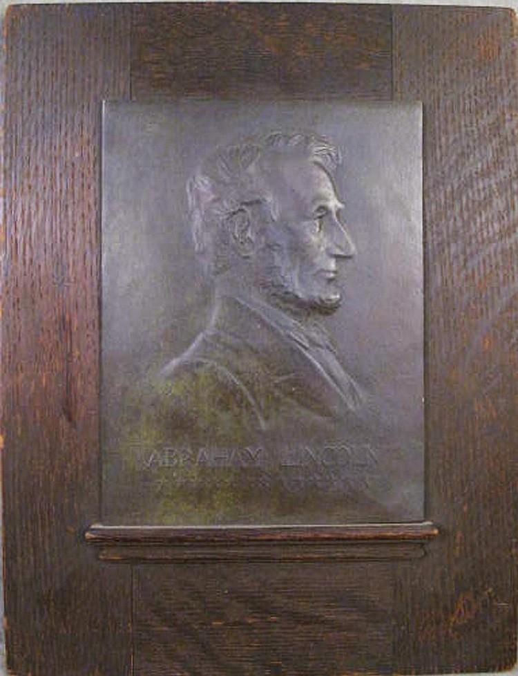 JULES EDOUARD ROINE.  (American, 1857-1916).  Bronze plaque of Abraham Lincoln.