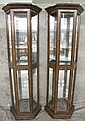 PAIR OF WALNUT FINISH LIGHTED TWO DOOR DISPLAY AND