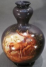 UNUSUAL FORM ROYAL BONN VASE.  With male/female stag grazing.  13 1/2