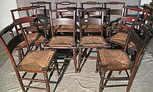 SET OF 10 RUSH SEAT COUNTRY MAHOGANY FINISH DINING CHAIRS.  With two arms and 8