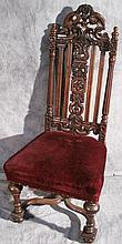 CARVED JACOBEAN OAK SIDE CHAIR.  Upholstered mohair seat.  49