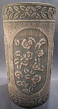 OHIO POTTERY UMBRELLA STAND.  Mat green wiped glaze with embossed floral panel-d