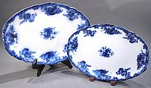 TWO ARCADIA ROYAL STAFFORDSHIRE FLOW BLUE PLATTERS.  14 1/2