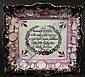 19TH CENTURY SUNDERLAND LUSTRE CERAMIC PLAQUE.  With verse from bible.  Good color with copper edge.  7 3/4