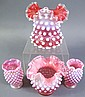 FOUR CRANBERRY OPALESCENT HOBNAIL VASES. With