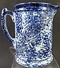 BLUE SPONGEWARE CERAMIC PITCHER.  6 1/2