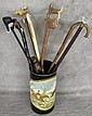COLLECTION OF EIGHT CANES. With hunting motif. On