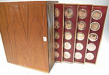 HISTORY OF THE UNITED STATES PROOF SET.  By Franklin Mint.  Bronze medallions wi  th US history scenes and in storage box.  200 piece set.