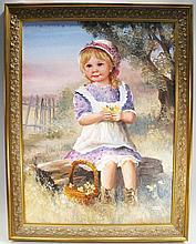 ORIGINAL DIANNE DENGEL OIL ON BOARD.  Girl sitting on log picking flowers out of  her basket.  Signed lower right.  17 1/2