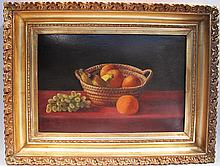 OIL ON BOARD.  Still life of fruit bowl.  In good frame.  16