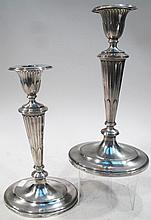 PAIR OF REED & BARTON STERLING WEIGHTED OVAL CANDLESTICKS.  Each stick has individual sterling bobeche and stand.  9