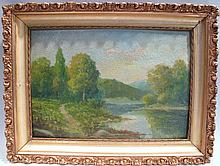 A.F. KING.  Oil on board.  Signed lower right hand corner spring landscape.  In   gold leaf period frame.  14
