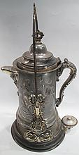 VICTORIAN SILVERPLATE TILTING COFFEE POT/STAND.