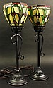 PAIR OF RECENT PRODUCTION LEADED GLASS TABLE
