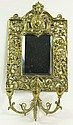 VICTORIAN BRONZE MIRROR BACK CANDLE SCONCE. With