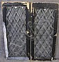 PAIR OF DIAMOND SHAPED BEVELED GLASS WINDOWS.  With painted frames.  47 3/4