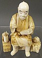JAPANESE IVORY OKIMONO OF A SCRIBE SEATED WITH HIS BRUSHES, ETC.  19th century. (Note:  brush missing from right hand and knob missing from chest).