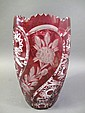 LARGE GERMAN HAND CUT RUBY TO CLEAR VASE.  11 3/4