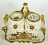 LIMOGES PORCELAIN DESK STANDISH.  Gold decoration.  5