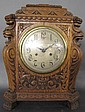 MAGNIFICENT CARVED OAK BRACKET CLOCK. With 20th