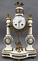 FRENCH LOUIS XVI STYLE ALABASTER MANTLE CLOCK. The