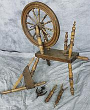 EARLY AMERICAN SPINNING WHEEL.  Traditional design.  39