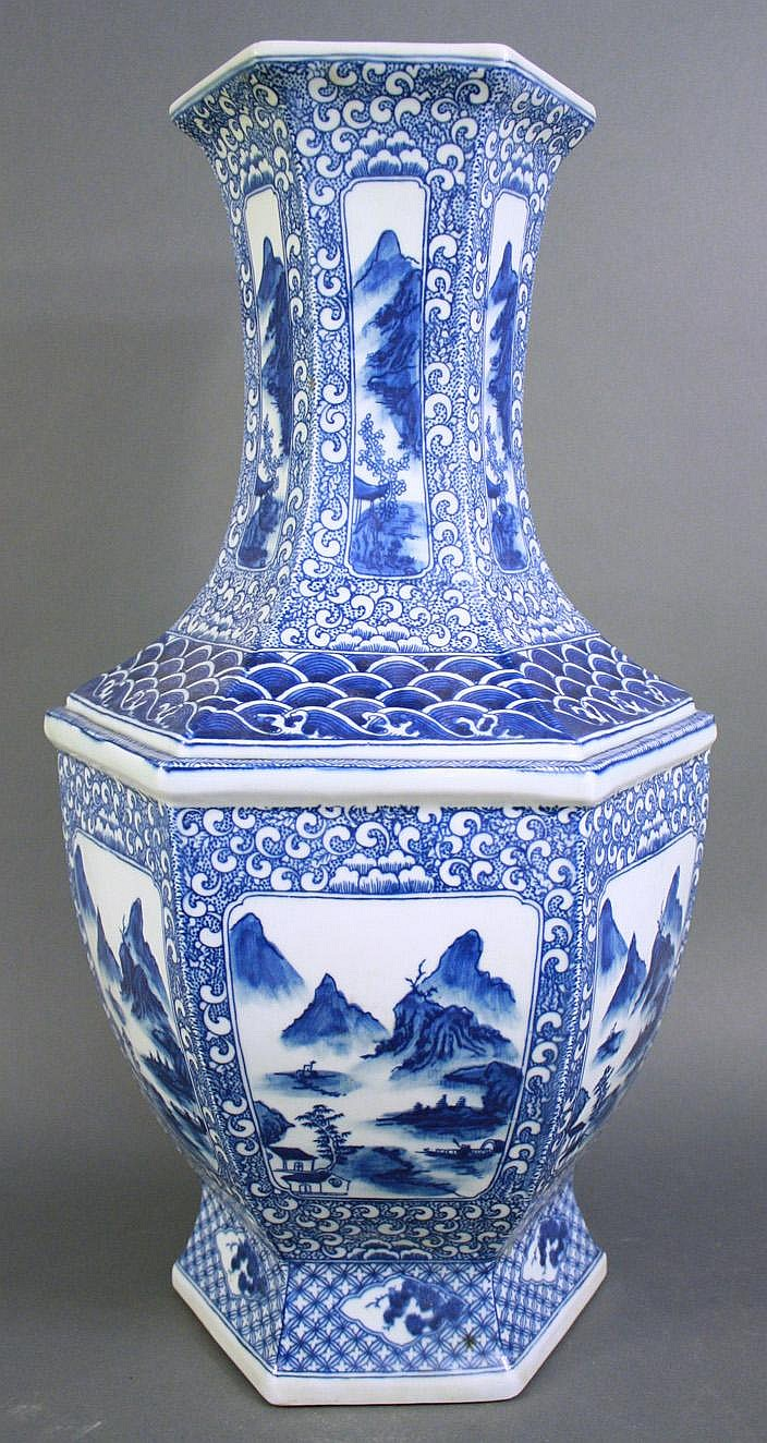 CHINESE BLUE & WHITE PORCELAIN HEXAGONAL SHAPED