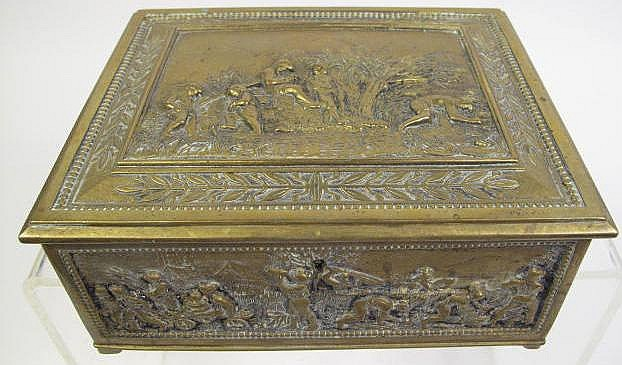 CONTINENTAL BRONZE RELIEF BOX. 19th century.