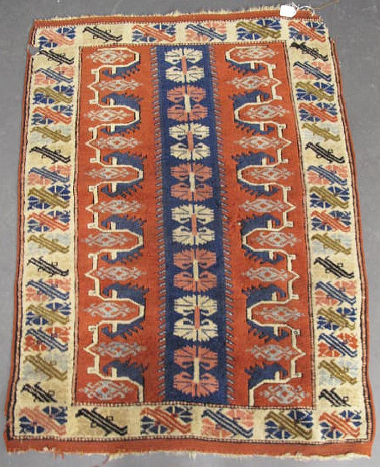 ANTIQUE TURKISH TRIBAL PRAYER TYPE RUG. Approx.