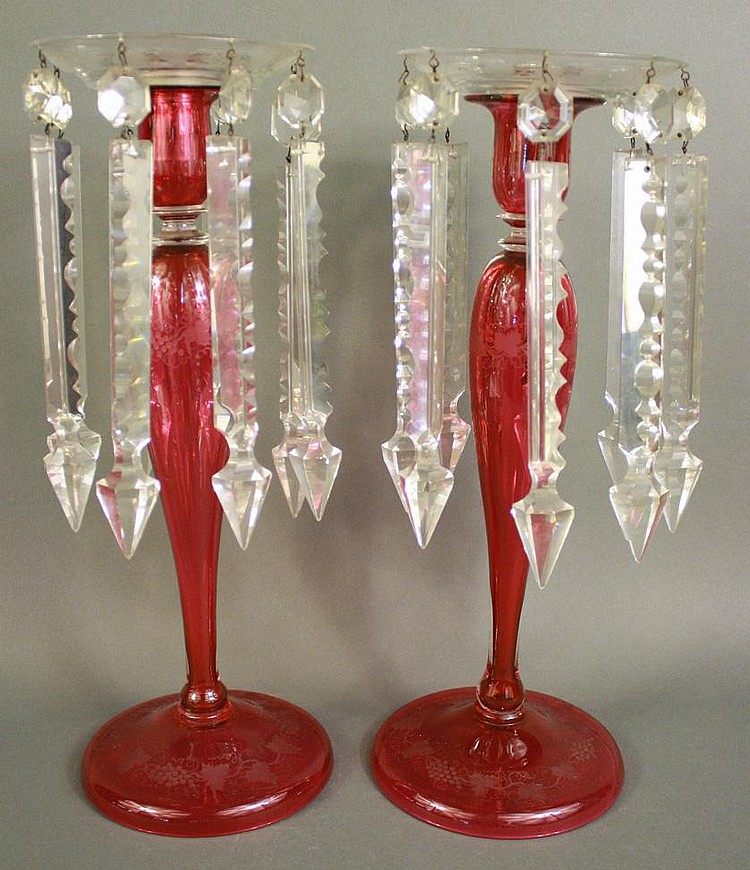 FINE PAIR OF CRANBERRY ETCHED GLASS CANDLESTICKS.