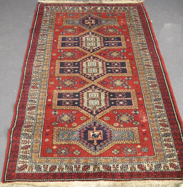 KUDISH OLD GEOMETRIC TYPE WOVEN RUG. Approx. 5'10