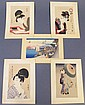 SOUVENIR FOLIO OF FIVE SMALL JAPANESE PRINTS. Each