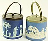 TWO BLUE JASPERWARE BISCUIT JARS. One is Wedgwood