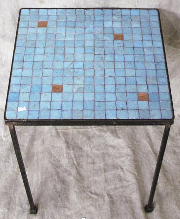 VINTAGE TILE TOP AND WROUGHT IRON TABLE.