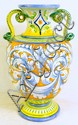 ITALIAN FAIENCE POLYCHROME DECORATED POTTERY VASE.
