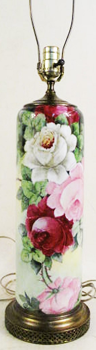 TALL HAND PAINTED CHINA LAMP.  With roses.