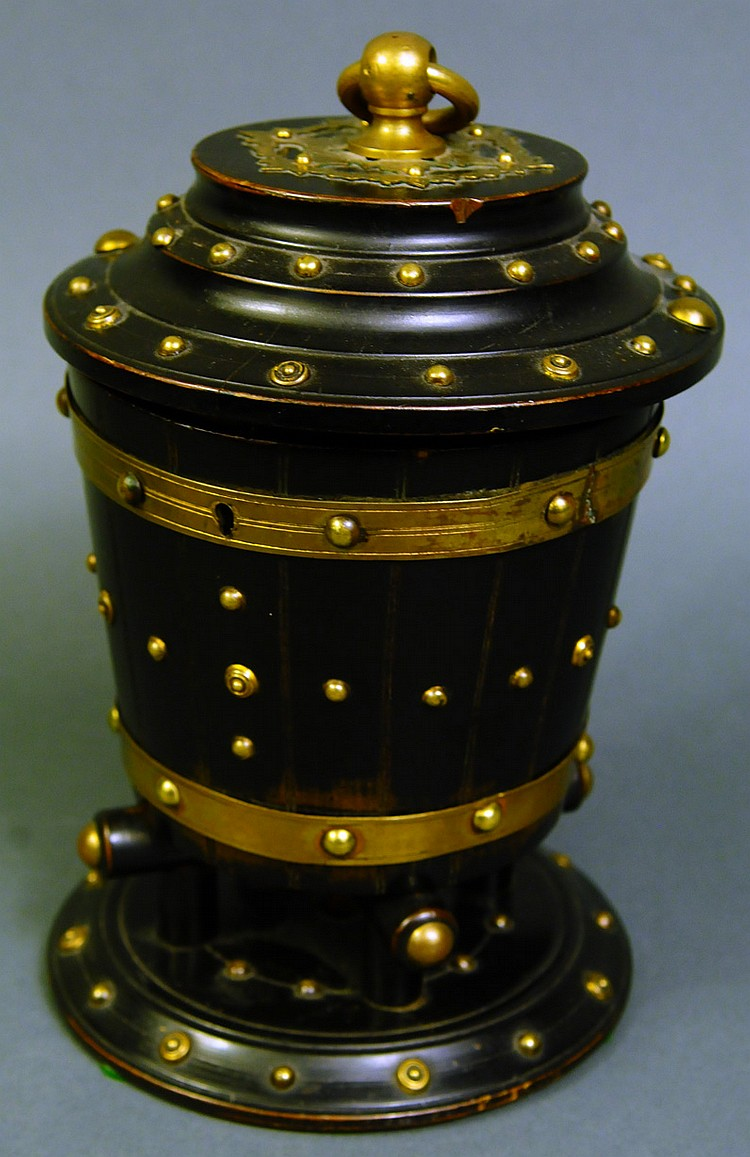 UNUSUAL VICTORIAN BARREL FORM AND BRASS MOUNTED