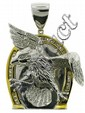 14K TWO TONE EAGLE PENDANT. With horseshoe 87 R