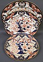 THREE BRITISH IMARI PALLETT CERAMIC PLATTERS. Two