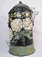 VICTORIAN DECORATED PARLOR WATER DISPENSER.  With ceramic liner.  Ca. 1880.